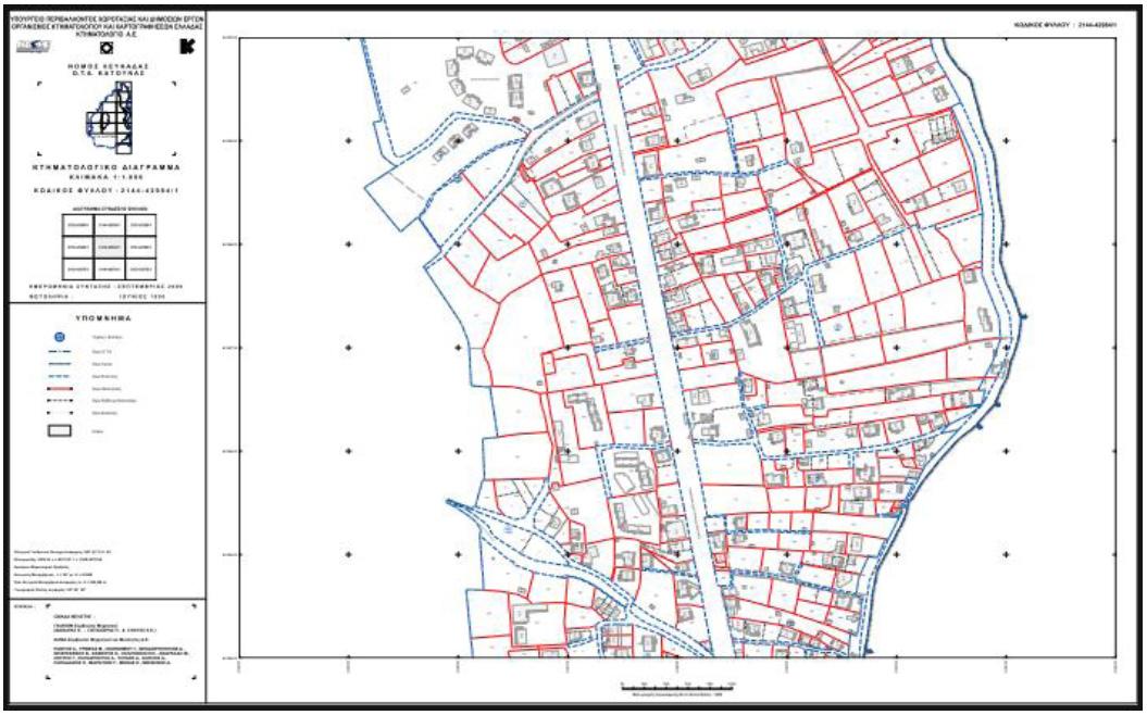 Κτηματολογικό διάγραμμα στον ΟΤΑ Κατούνας Δ. Λευκάδας